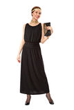 Flicka i en svart retro klänning Arkivfoto