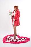 Flicka med en ro Royaltyfri Fotografi