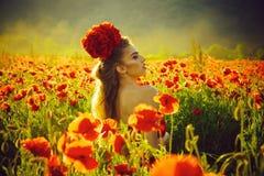 Flicka i ett blommandefält Modestående av en sinnlig sexig flicka kvinna eller flicka i fält av vallmofrö Royaltyfri Bild