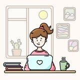 Flicka i ett rum framme av b?rbara datorn Kvinnlig Blogger Plan vektorillustration royaltyfri illustrationer