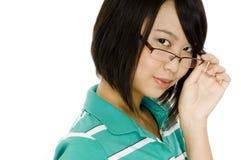 Flicka i exponeringsglas royaltyfri fotografi