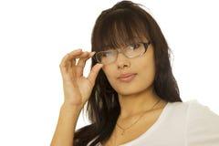Flicka i exponeringsglas Arkivbilder