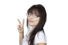 Flicka i exponeringsglas royaltyfria bilder