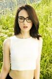 Flicka i exponeringsglas fotografering för bildbyråer