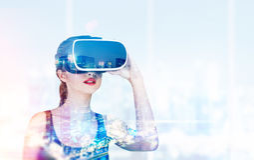 Flicka i exponeringsglas 3d i regeringsställning Royaltyfri Bild