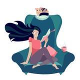 Flicka i exponeringsglas som l?ser en bok i f?t?lj med katten Stiliserat tecken: ung kvinna hemma L?seboktappning in royaltyfri illustrationer