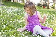 Flicka i fält av blommor Arkivbilder