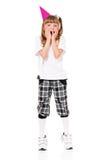 Flicka i födelsedaglock Royaltyfri Foto