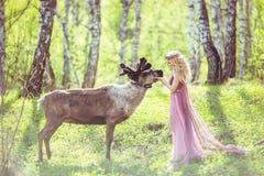 Flicka i felik klänning och ren i skogen Arkivbilder