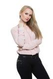 Flicka i flåsanden och blous Isolerat på vit Fotografering för Bildbyråer