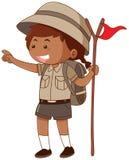 Flicka i flagga för safaridräktinnehav vektor illustrationer