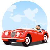Flicka i gammal röd konvertibel bil Arkivbild