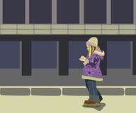 Flicka i gata royaltyfri illustrationer