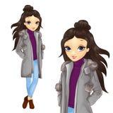 Flicka i Gray Coat And Jeens royaltyfri illustrationer