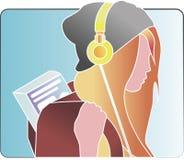 Flicka i hörlurar stock illustrationer