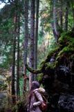 Flicka i höstskogen Royaltyfri Bild