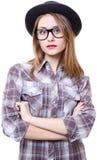 Flicka i hatt Arkivfoton