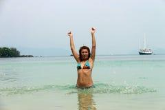 Flicka i havet Royaltyfri Fotografi