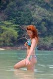 Flicka i havet Fotografering för Bildbyråer