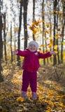 Flicka i höstskog Arkivbilder