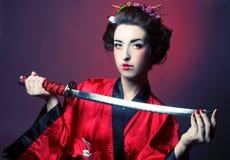Flicka i japanisestil Royaltyfria Bilder