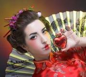 Flicka i japansk stil Arkivbilder