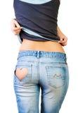 Flicka i jeans Arkivfoton
