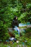 Flicka i jeans Royaltyfri Foto