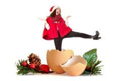 Flicka i jul som dansar Royaltyfria Bilder