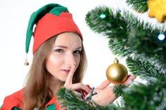 Flicka i juldräkt Arkivfoto