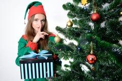 Flicka i juldräkt Royaltyfria Bilder