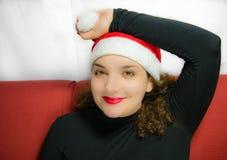 Flicka i jullynne royaltyfri foto