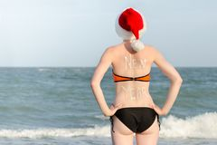 Flicka i jultomtenhattar med det nya året för inskrift på baksidan ovanför havskustsikt tillbaka sikt Arkivfoto