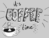 Flicka i kaffebadet - en kopp kaffe royaltyfri illustrationer