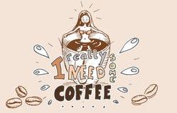 Flicka i kaffebadet - en kopp kaffe stock illustrationer
