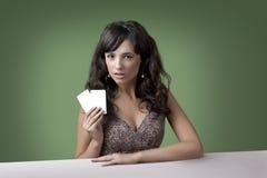 Flicka i kasino Arkivbilder