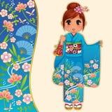 Flicka i kimono vektor illustrationer