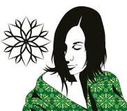 Flicka i kimono Arkivbild