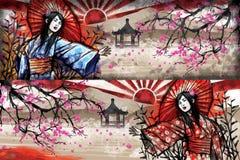 Flicka i kimono Royaltyfri Illustrationer