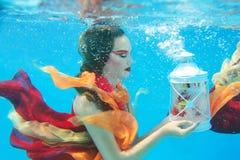 Flicka i klänningen som är undervattens- i simbassängen Royaltyfri Bild