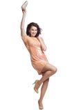 Flicka i klänningpaljetter isolate Arkivfoto