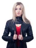 Flicka i läderomslag royaltyfri fotografi