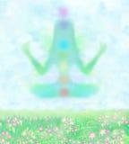 Flicka i lotusblommaposition Royaltyfri Bild