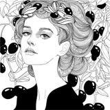 Flicka i olivgrön krans vektor illustrationer