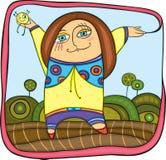 Flicka i park royaltyfri illustrationer