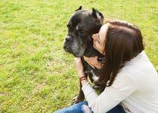 Flicka i parkera som går med deras stora hund Cane Corso royaltyfri bild