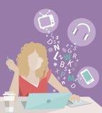 Flicka i plan design Arkivfoton