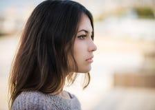 Flicka i profil Royaltyfria Foton