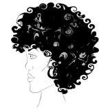 Flicka i profil stock illustrationer