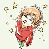 Flicka i röd hoodie och grön jeans som ser stjärnor Stock Illustrationer